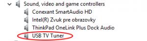 Zariadenie v systéme pribudlo ako: USB TV Tuner